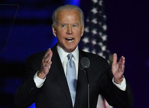 Joe Biden puhui voitonjuhlassaan marraskuun 7. päivänä.