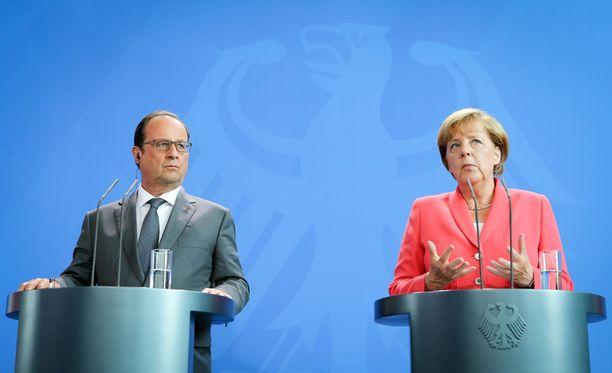 Ranskan presidentti Francois Hollande ja Saksan liittokansleri Angela Merkel keskustelivat tänään Berliinissä.