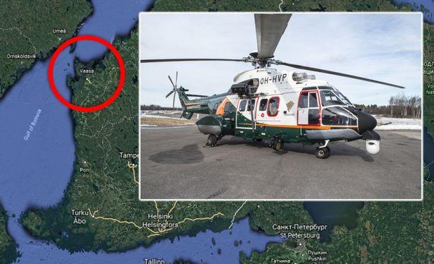 Kalastaja löydettiin Harvungön edustalta. Etsintöihin osallistui myös Rajavartiolaitoksen Super Puma -helikopteri. Kuvituskuva.