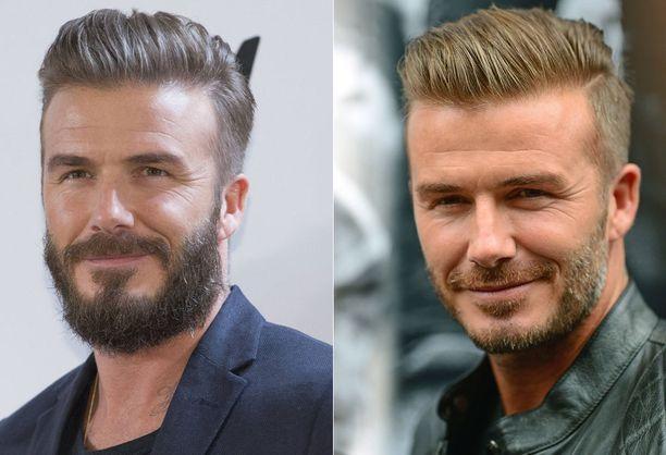 Viime aikoina Beckham on nähty yhä tuuhenevassa parrassa. Oikealla kuva syyskuulta 2014 ja vasemmalla maaliskuulta 2015.