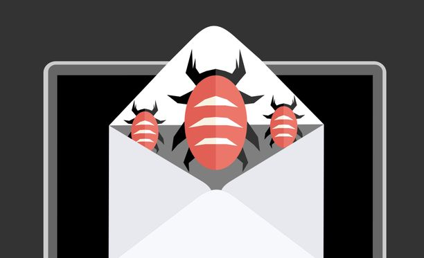 Sähköpostiviestin liite sisältää haittaohjelman. Kuvituskuva.