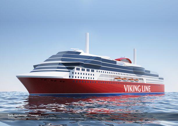 Havainnekuva Viking Linen tulevasta aluksesta. Sille haetaan nyt nimeä.