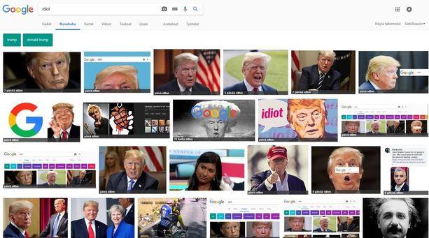 """Hakusana """"idiot"""" näyttää Googlen kuvahaussa ensimmäisiksi tuloksiksi Yhdysvaltain presidentin kasvokuvaa."""
