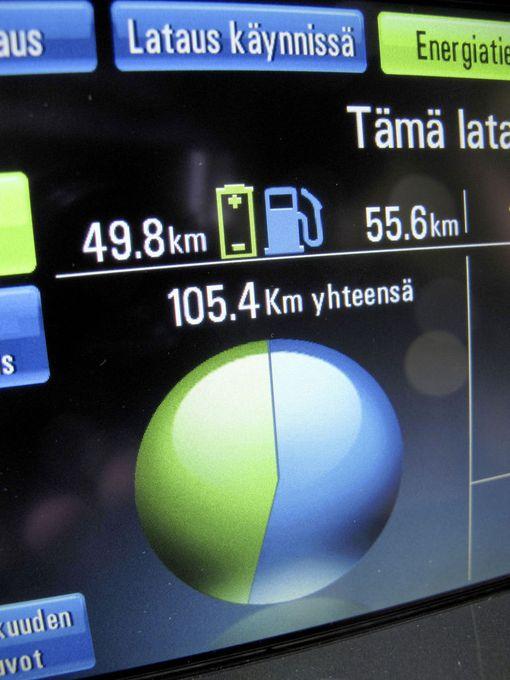 Osa matkasta on kuljettu sähköllä, osa polttomoottorin voimalla.