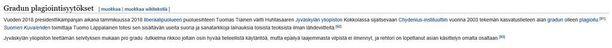 Tältä näytti Huhtasaaren Wikipedia-sivun gradun plagiointisyytöksiä koskeva kappale torstai-iltana kello 22.