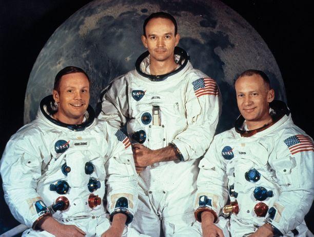 "Apollo 11 astronautit: Neil Armstrong, Michael Collins ja Edwin ""Buzz"" Aldrin."