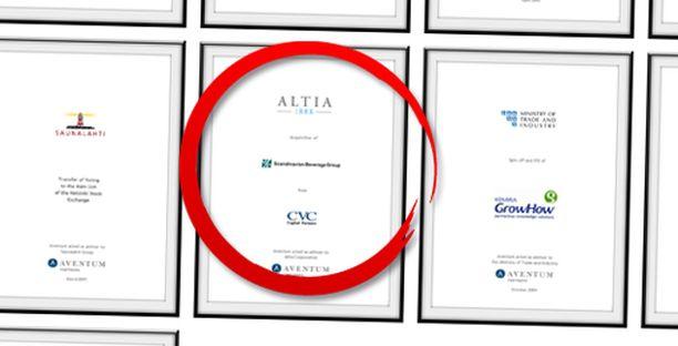 Investointipankki Aventum ylpeilee yhä osuuttaan kaupassa; malliesimerkki konsulttiosaamisesta. Aventum mainostaa Altinan yritysjärjestelyä referenssinään.