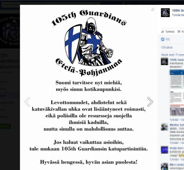105th Guardiansin tunnuksena on siniristikilpeä kantava ritari. Kuvarevinnäinen järjestön Facebook-sivuilta.