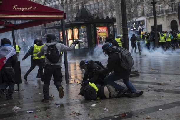 Poliisit pidättivät mielenosoittajaa Pariisissa.