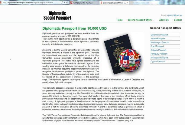 Kuvakaappaus passeja kaupanneelta sivustolta. Sivusto pyörii edelleen ja rahalla kuulemma saisi myös EU-maiden Irlannin tai Bulgarian passin.
