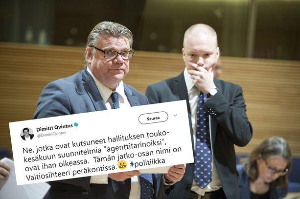 Valtiosihteeri Samuli Virtasen (oik.) takakonttikyyti kirvoitti runsaasti kommentointia sosiaalisessa mediassa.