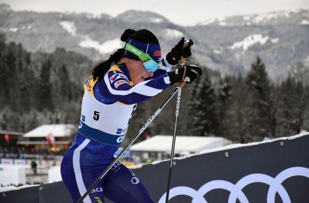 Krista Pärmäkoski hiihti viidenneksi torstaina Tour de Skin viidennellä etapilla Oberstdorfissa.