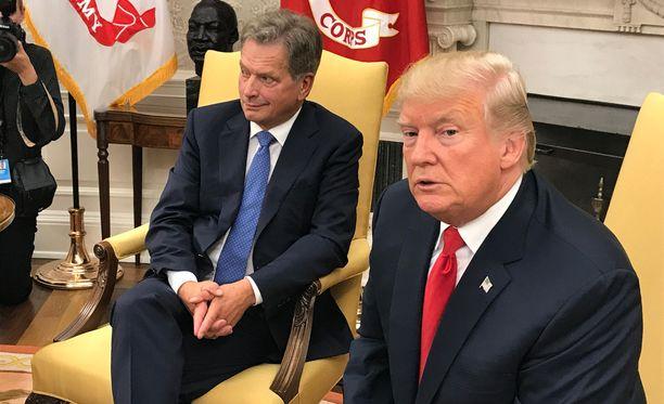 Sauli Niinistö ja Donald Trump tapasivat Washingtonissa elokuussa 2017.