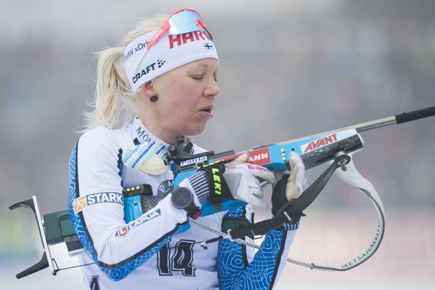 Kaisa Mäkäräinen on ampunut tällä kaudella henkilökohtaisissa kilpailuissa pystystä 130 laukausta, joista 37 on ollut huteja.