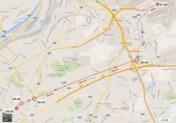 Tätä reittiä epäilty terroristi kulki Brysselissä maaliskuun 22. päivän aamuna.