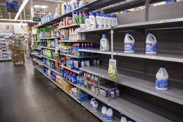 Valkaisuainevarastot myytiin lähes loppuun maaliskuussa Virginian osavaltiossa sijaitsevassa Walmart-myymälässä. Kuvituskuva.