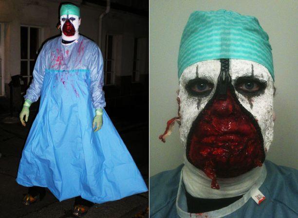 Toni säikäytti halloween-juhlijat vetoketjumaskeerauksella.