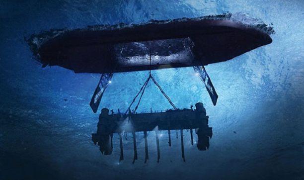 Aluksen pohja aukesi veden alla ja sieltä laskettiin valtava nostokoura lähes viiden kilometrin syvyyteen. Taiteilijan näkemys.
