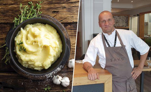 Perunamuusiin kannattaa lisätä voin lisäksi myös oliiviöljyä, sanoo huippukokki Sauli Kemppainen.