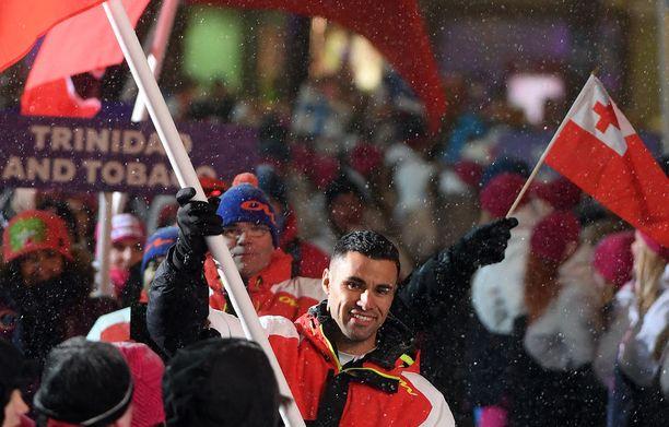 Näin Pita Taufatofua edusti Lahden MM-hiihtojen avajaisissa viime helmikuussa.