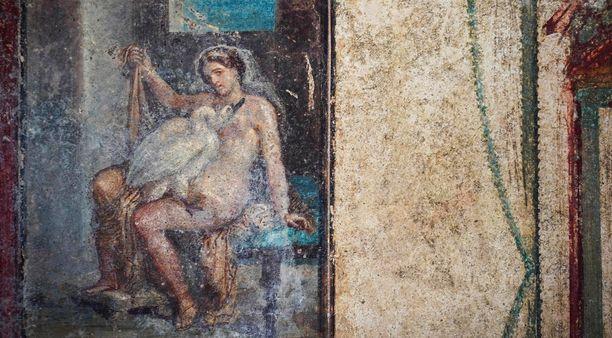 Yksityiskohta freskosta Leda ja joutsen.