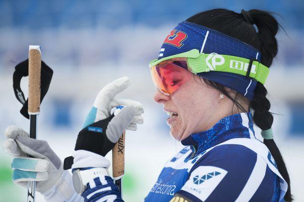 Krista Pärmäkoskella oli huonoa onnea Virossa lauantaina.