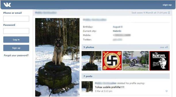 Soldiers of Odinin Helsingin-ryhmän puuhamiehen profiili sosiaalisessa mediassa näyttää tältä.