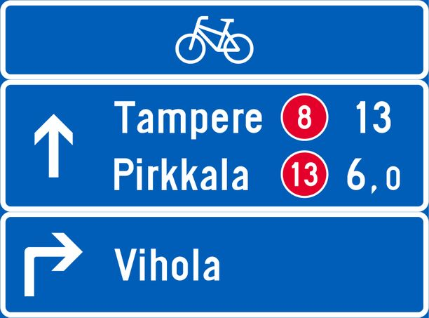 Pyöräilyn suunnistustaulu.