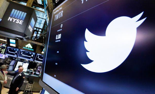 Twitterin tunnus New Yorkin pörssissä toukokuussa 2016.