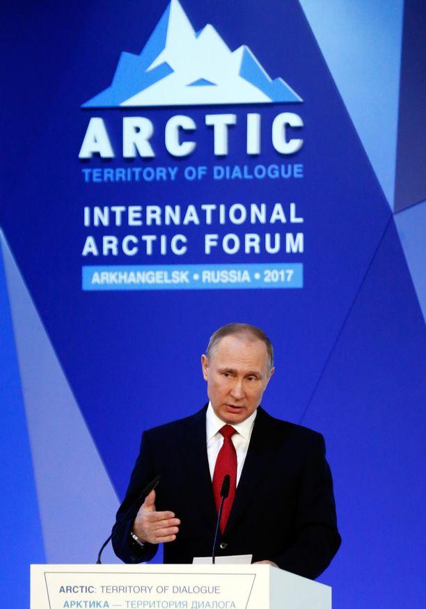 Venäjän presidentti Vladimir Putin puhui Arktisessa foorumissa.