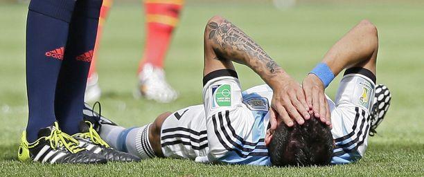 Argentiinan Angel di Maria loukkaantui Belgia-ottelussa lauantaina.