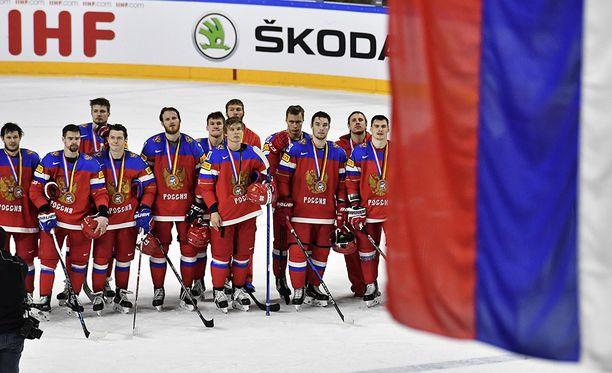 Venäjän väri on punainen. Kuva viime kevään MM-kisoista.