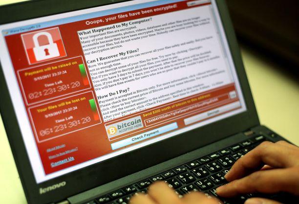 Wannacry-haittaohjelma lukitsi tietokoneen ja vaati vastineeksi avaamisesta lunnaita.