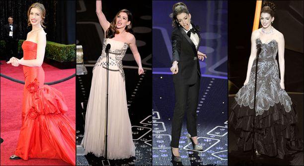 Ennen gaalaa Anne poseerasi punaisella matolla Valentinon iltapuvussa. Sitä seurasivat kermanvärinen Givenchyn haute couture -asu, Lanvinin smokki ja Vivienne Westwoodin iltapuku.