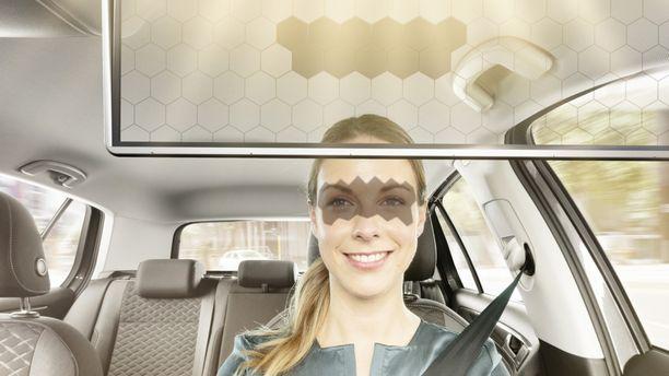 Virtuaalinen aurinkolippa tunnistaa valon ja varjon kuljettajan silmillä.