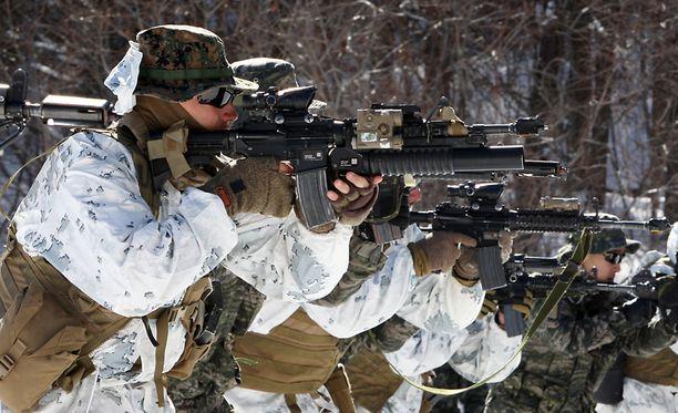 Merijalkaväen sotilaat Yhdysvalloista ja Etelä-Koreasta harjoittelivat talvista sodankäyntiä Pyeongchangissa helmikuussa.