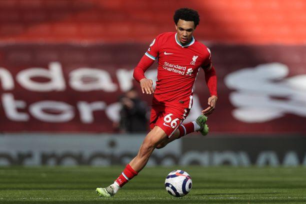 Trent Alexander-Arnold teki maalin viikonloppuna Aston Villaa vastaan.