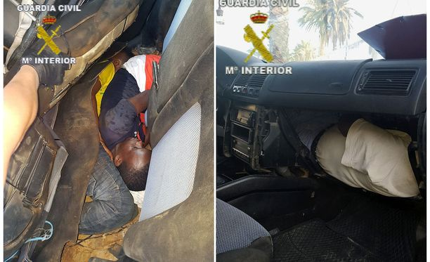 Espanjan rajavalvontaviranomaisten julkaisemassa kuvassa näkyy, miten ahtaasti autoon piiloutuneet miehet matkustivat.