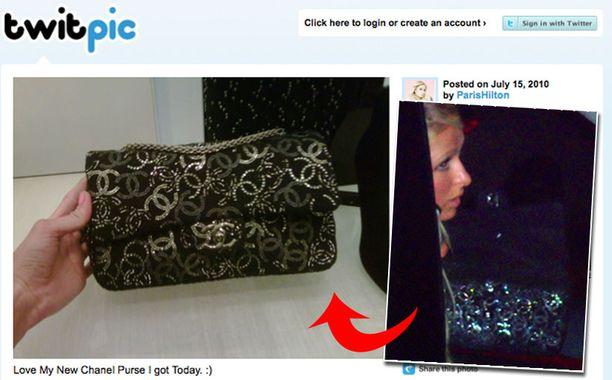 Vasemmalla Hiltonin Twitterissä julkaisema kuva, oikealla pidätyksen yhteydessä otettu paparazzikuva.