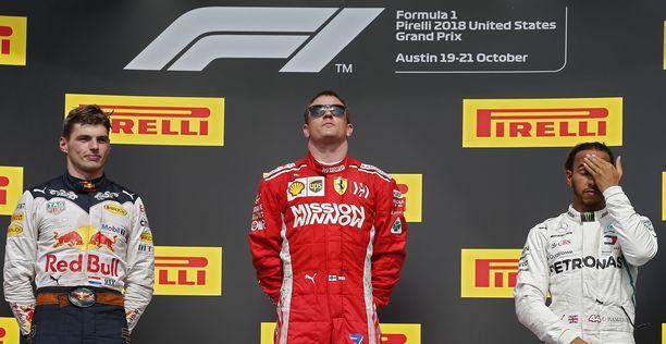 Kimi Räikkönen palasi Austinissa korkeimmalle korokkeelle 112 osakilpailun tauon jälkeen.
