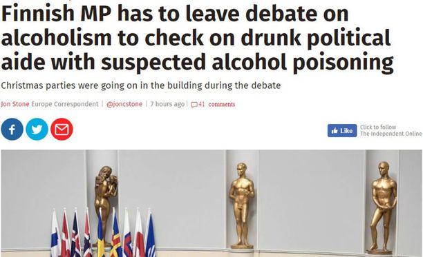 Independent-lehti muistuttaa, että Suomessa alkoholinkulutus on maailman kärkeä.