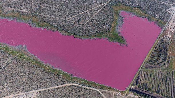 Kuvassa oleva argentiinalainen Korfon laguuni on nyt luonnottoman värinen, mahdollisesti teollisuusjätteiden vuoksi.