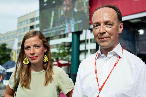 Li Andersson ja Jussi Halla-aho väittelivät Porin Suomi-areenassa.