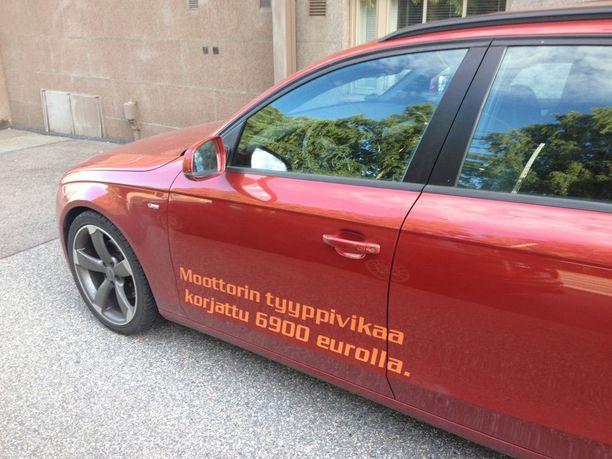 Matias Seppovaara teippasi Audinsa kylkeen kyseisestä automerkistä varoittavan tekstin. Hän poistaa sen vain, jos Audi suostuu korvaamaan moottoriremontin.