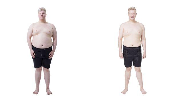 Vasemmalla Aarni ennen laihdutusta ja oikealla laihdutuksen jälkeen.