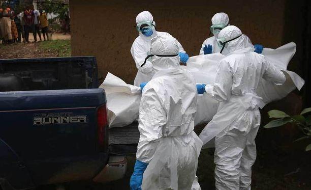 Punaisen Ristin työntekijät kuljettivat suojapuvuissa Ebolaan menehtynyttä uhria Liberiassa.