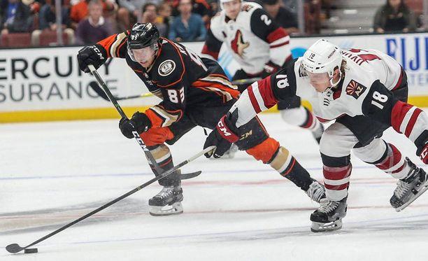 Kalle Kossila (83) pelaa ensi yönä Anaheim Ducksin ykkösketjun keskellä.