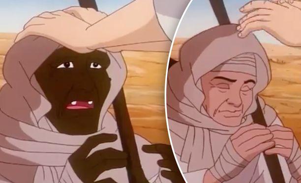 """TV7:lla esitettävässä lastenohjelmassa Jeesus laskee kätensä miehen pään päälle ja lausuu """"tapahtukoon niin, olet nyt terve"""". Tämän jälkeen tummaihoinen mies muuttuu valkoihoiseksi."""