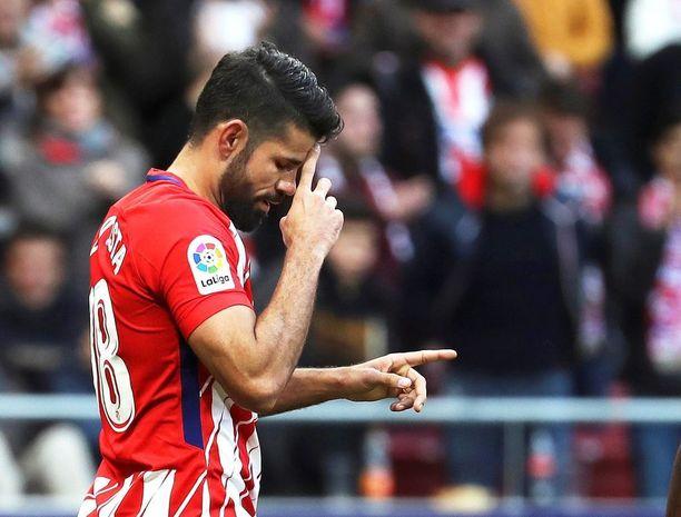 Diego Costa teki Atletico Madridin toisen maalin sunnuntaina.