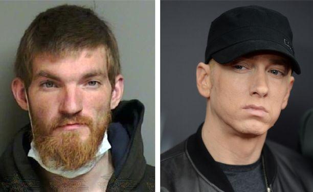 Vasemmalla 26-vuotias Matthew Davis Hughes Macombin poliisin julkaisemassa pidätyskuvassa. Eminem, oik., kertoi miehen murtautumisen motiiviksi hänen tappamisensa.